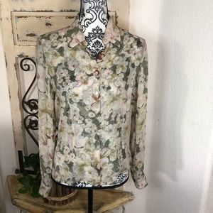 Papell petites silk sheer floral blouse